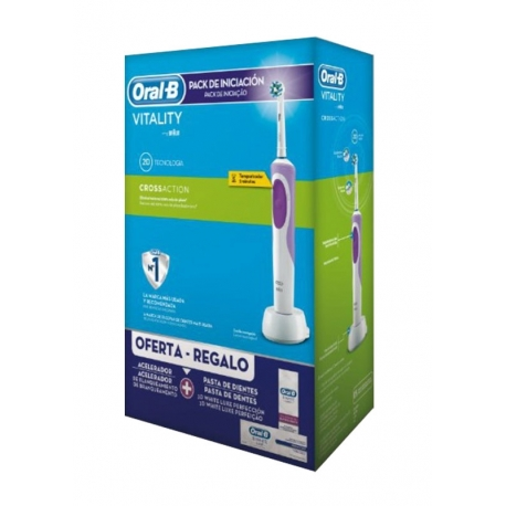 Cepillo Dental Eléctrico Braun Oral B Vitality CrossAction Morado + Pasta Gratis